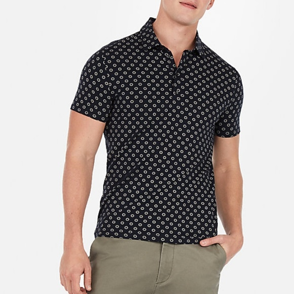 Express Other - EXPRESS PRINTED MOISTURE-WICKING  POLO